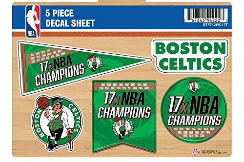 Boston Celtics Decal Sticker 17X Time Champions 5 Piece Multi Sheet Flat Vinyl Emblem Basketball