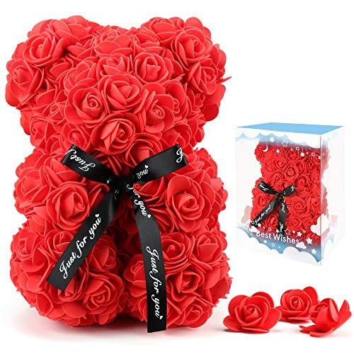 Rose Flower Bear for Anyone Love,Rose Gift for Her,Artificial Flowers Forever Bear,Romantic...