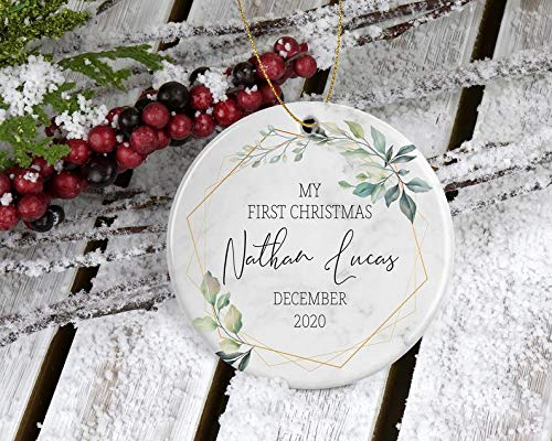Decorations Newborn's First Christmas Round Ceramic Ornament - Personalized with Name Makes a Unique Gift for Grandparents, Aunt Decorative Wall Art for Christmas and Holidays