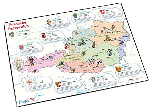 Läufer 45348 Landkaarten-bureauonderlegger Duitsland, antislip onderlegger met Duitse kaart, 40 x 53 cm, met transparant zijvak Ontdek Oostenrijk