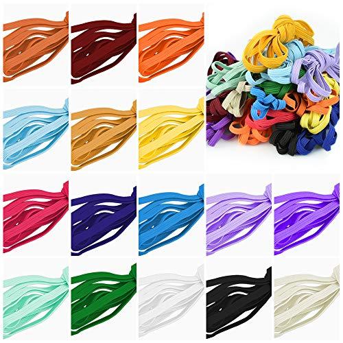 KLYNGTSK 16 PCS Banda Elástica de Poliéster Cordón Elástico Colores Flexible Cinta Elástica Costura de 6 mm Resistente Banda de Coser para Mascara,Ropa, Pelo, DIY, Accesorios (Multicolor, 3m)