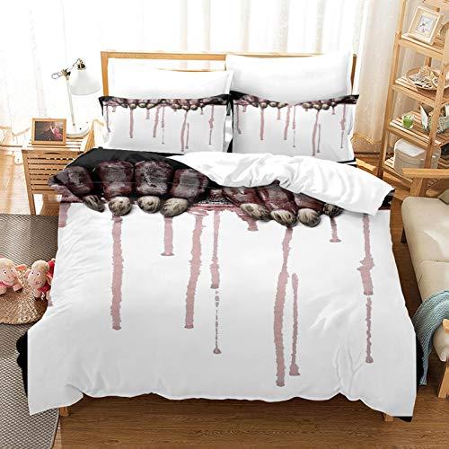 MENGBB 3D Bettlaken Spannbettücher Kissenbezüge Halloween Zombie Blutfleck - 200x200cm Gesamt 4 Größen, Bettwäsche Set 3D, Bedruckte Bettwäsche Set 3-Teiliges Polyester mit Reißverschluss 1 Bettbezug