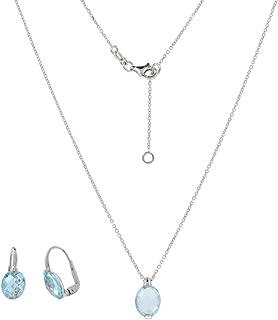 Gioiello Italiano - Parure in oro bianco 14kt con topazi azzurri ovali, collana e orecchini, da donna