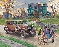 大人5000ピースの車とハロウィーンの子供のためのジグソーパズルDIY木製パズル子供のおもちゃ72x42in