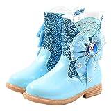 YOSICIL Niñas Botas de Nieve Invierno Zapatillas de Princesa Calentar Botas de Forras con Arco de Agua Zapatos Casuales de Invierno Suela Blanda 26 EU-36 EU