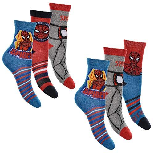 Spiderman 6er Pack Jungen Socken Strümpfe mit vielen verschiedenen Muster und Designs (Spiderman Mix 1, Schuhgröße EUR 23-26)