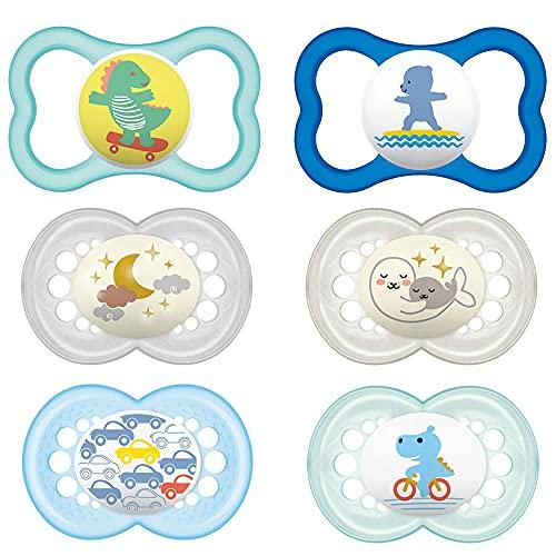"""MAM Day & Night, versione Original & Air - Ciuccio in silicone """"Skin Soft"""" per bambini dai 16 mesi in su, set da 6 pezzi, inclusi 3 contenitori sterili per il trasporto"""
