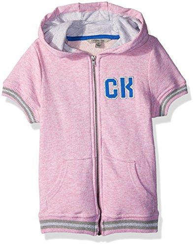 Calvin Klein Mädchen Short Sleeve Varsity Hoodie Kapuzenpulli, Pink Heather, 6X