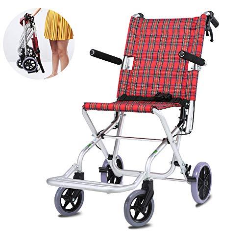 LANGYINH Transport Rolstoel Opvouwbare Aluminium Medische Stoel met Handdoek, Lichtgewicht & Duurzaam Voor Ouderen, Patiënten
