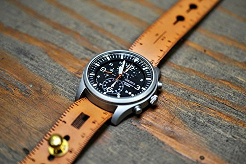 Leather Ruler Stud Watch Strap
