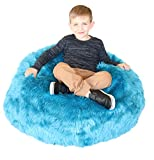 Fluffy Stuffs   Super Soft Furry Stuffed Animal Storage Bean Bag Chair Cover for Kids   Premium Plush Fur   Canvas Handle   Make Bedroom Clutter Comfortable and Fun for Children   Machine Washable