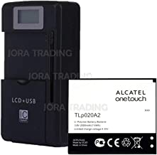 OEM Battery TLp020A2 for Alcatel OneTouch POP S3 Star A845L OT-5050 OT-5050A 5050X 5050Y w/Universal LCD Battery Charger + USB-Port (Adjustable Dock) in Non-Retail Packaging
