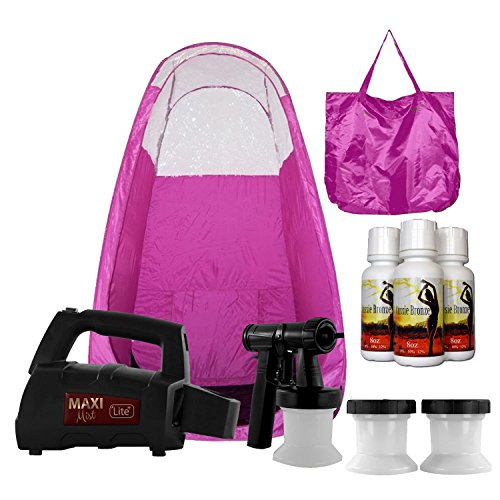 MaxiMist Lite Plus HVLP Sunless Spray Tanning KIT, with Tent, Machine, Airbrush Spray Tan, Pink
