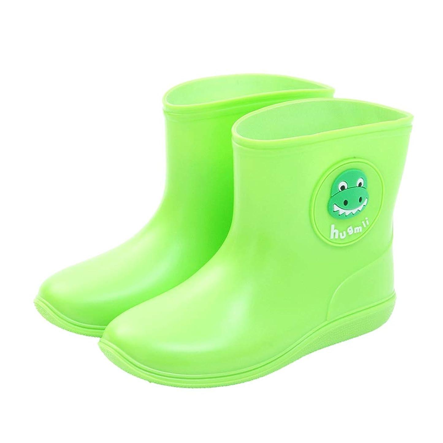 ジャンク行サージレインブーツ- 子供の男性と女性のレインブーツ漫画ゼリーラバーレインブーツ水の靴春と夏のゴム靴 (Color : Green, Size : 28)