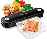 Toyuugo Vacuum Sealer Machine, Automatic Air Sealing System Start Kit for Food Preservation Storage with Led Indicator Lights, Portable Heat Sealer for Food Savers and Sous Vide (10 Vacuum Sealing Bags, Black)
