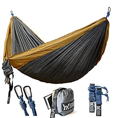WINNER OUTFITTERS Double Camping Hammock - Lightweight Nylon Portable Hammock, Best Parachute Double Hammock For Backpacking, Camping, Travel, Beach, Yard. 118 (L) x 78 (W)