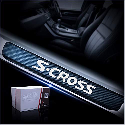 4 Unids Coche Tiras Umbral Fibra de Carbon para Suzuki S-Cross, Protección Automóviles Desgaste Puerta Door Sill Originales Accesorios Diseño Styling Embellecedores Engomada