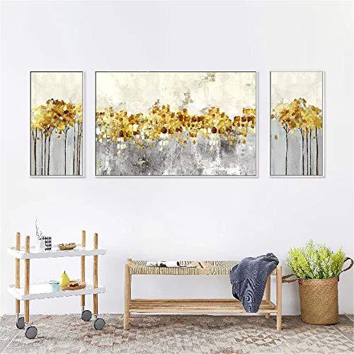 WSNDG Dansende sterren moderne woonkamer triple canvas decoratieve schilderij bank achtergrond muur abstracte schilderij zonder fotolijst 50x70cmx2 70x100cmx1 A2
