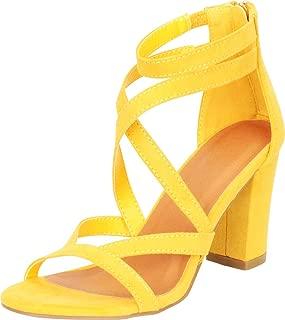 Women's Open Toe Crisscross Strappy Chunky Block Heel Sandal