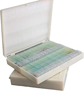 GHTTHJ 200 Piece Glass Prepared Microscope Slides Biology Science Animal Plant Cell Lab Specimens