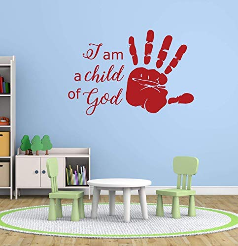 I Am a Child of God Vinyl Wall Decal with Handprint   Christian Home Decor for Playroom, Nursery, Children's Bedroom, Church Decoration   Small, Large Sizes   Black, Metallic Gold, Other Colors