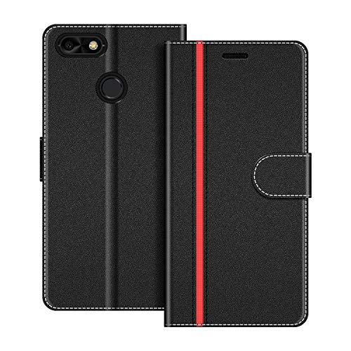 COODIO Handyhülle für Huawei Y6 Pro 2017 Handy Hülle, Huawei Y6 Pro 2017 Hülle Leder Handytasche für Huawei Y6 Pro 2017 Klapphülle Tasche, Schwarz/Rot