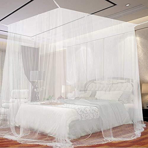 Funmo - Mosquitera, 4 Esquinas Mosquitera de cama cuadrada, Adecuado para Cama Individual o Matrimonio Anti mosquitos para el Hogar o de Vacaciones (Blanca)