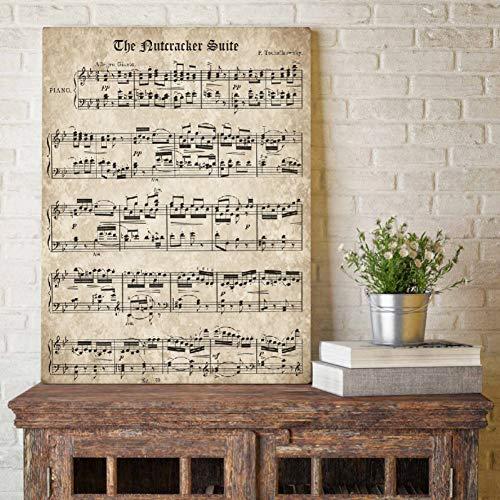 GUDOJK muurschilderij De notenkraker muziek blad poster afdrukken klassieke piano muziek canvas schilderkunst muur schilderij wooncultuur 60x80cm(24x32inch)