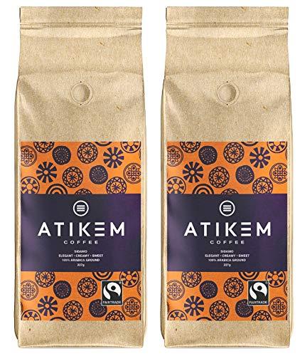 ATIKEM Organic Ground Ethiopian Coffee, Creamy Medium Roast Sidamo, Fairtrade Certified Premium Arabica - 227g (2X Pack)