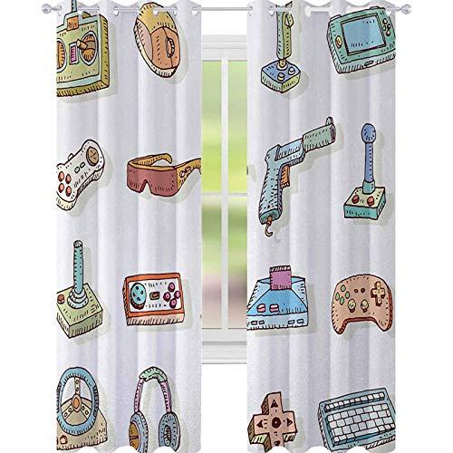 YUAZHOQI Tenda per videogiochi con finestra Retrò Arte Digitale Fun Sketch Kids 90s Console Computer Cuffie Nerd Gun Joystick Tende per porte francesi, 132,1 x 241,3 cm, Multi