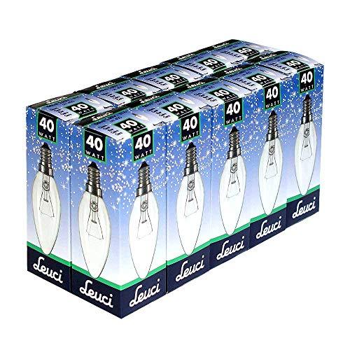 Preisvergleich Produktbild 10 x Leuci Glühbirne Kerze 40W E14 Glühlampe KLAR Glühbirnen Glühlampen Kerzen warmweiß dimmbar (40 Watt)