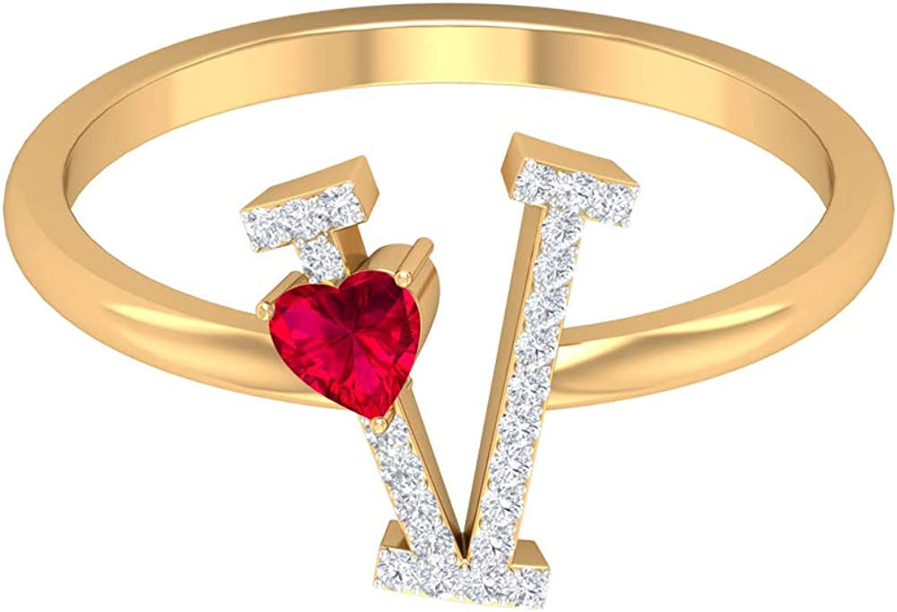 Ruby and Diamond Ring 0.39 CT Alphabet Jewe Letter Today's only Gold V depot