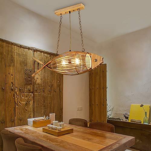 Lámpara Colgante de Bambú Lámpara de Mesa de Comedor de Madera Colgante de Luz Tejida con Forma de Pez Hecha a Mano 2-Llamas E27 Candelabro Retro de Altura Ajustable Comedor Lámpara de Madera L75 cm