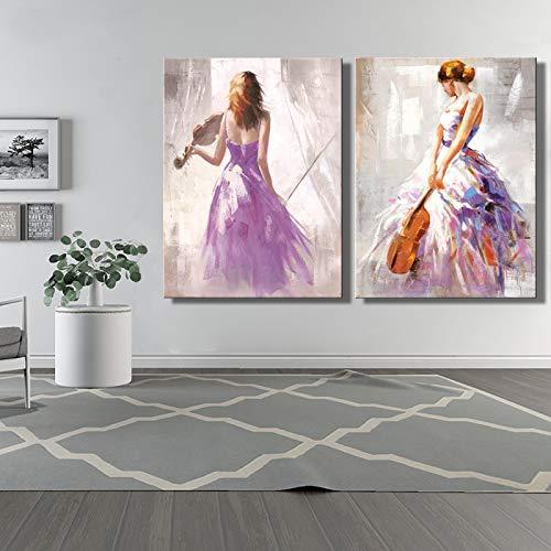 ganlanshu Geige dekorative Malerei abstrakte Moderne Porträtplakatwandkunst der Violinisten auf Leinwand,Rahmenlose Malerei,30X45cmx2