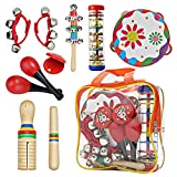 Kids Musical Set Toys Drum Percussion Instruments,12pcs Multifunctional Preschool Education Learning Musical Toys Gifts for Girls with Wrist Bells,Guiro Scraper,Wrist Bells (Red)