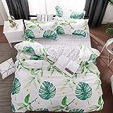 SHJIA Baumwolle pastoralen Blumen Cartoon-Stil Mode Bettwäsche Bettwäsche Bettlaken Bettbezug Kissenbezug Bettwäsche-Sets/Königin Weiß 180x220cm