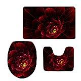 coloranimal 3piezas de juego de alfombra de baño incluye contorno Mat + tapa para tapa de inodoro + alfombra de baño Felpudo flores