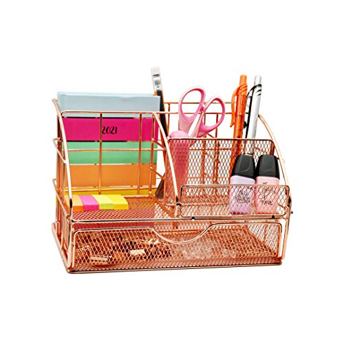 USAHI Organizador de escritorio, color oro rosa, bolígrafo y soporte para lápices para cualquier oficina y hogar, organizador de escritorio (con 72 clips gratis)