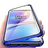 JoiHülle R&um Hülle für OnePlus 8 Pro Magnetische Adsorption Handyhülle 360 Grad Schutzhülle Stark Magneten Aluminiumrahmen Gehärtetes Glas Stoßfest Metall Flip Cover, Blau