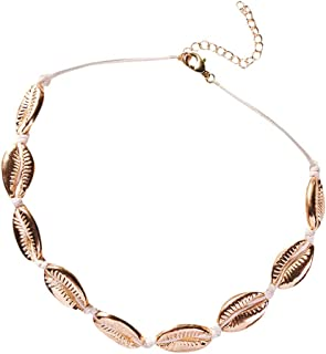 Lucky Mall Frauen Retro Natürliche Süßwasser Muschel Kette, Damen Accessoires Mode Party Schmuck Bekleidungszubehör Personalisiertes Halskette