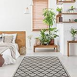 onloom Teppich Style, Ornamente in modernem 3D Look, hochwertiger Wohnzimmerteppich, Farbe:Grau-Schwarz, Größe:80 x 150 cm