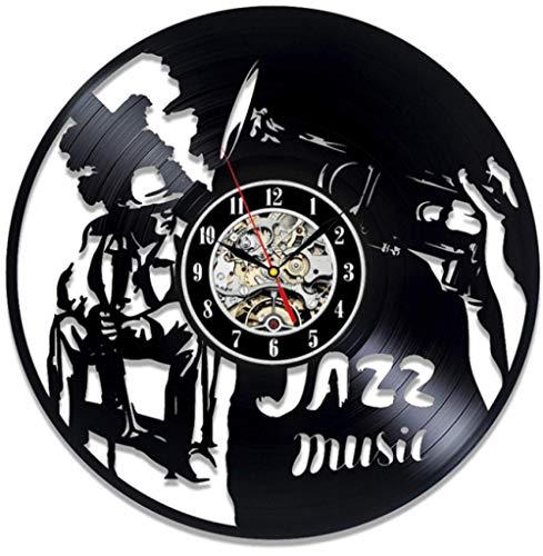 Reloj de Pared Moderno silencioso, Reloj de Pared Retro Record, Decoración de Dormitorio de Estudio de Sala de Estar, decoración del hogar.Hombre de Jazz