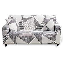 Hotniu Funda Sofa Elasticas 3 Plazas Fundas de Sofa Ajustables Fundas Decorativa para Sofá Estampadas Impresa Cubre Sofa con 1 Funda de Cojín, Modelo #MK