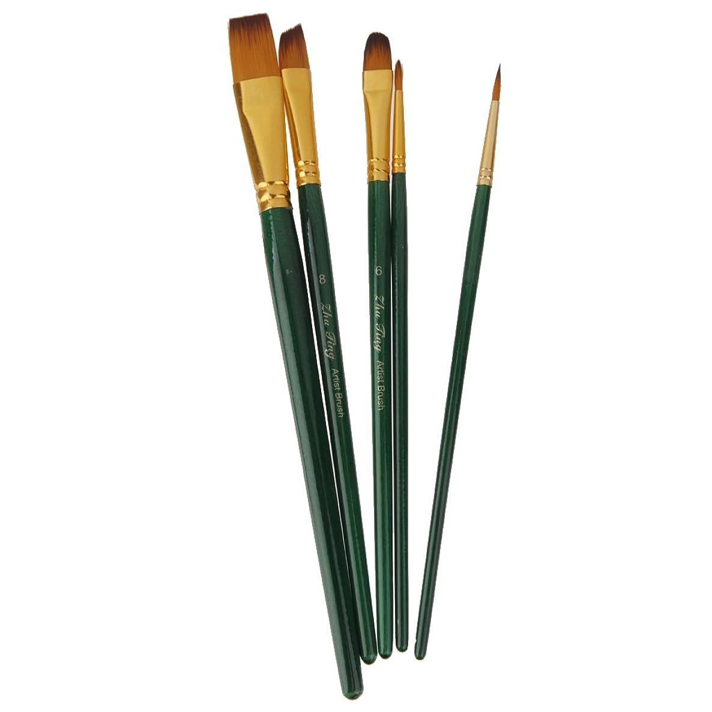 王朝救急車昼食5本 多サイズ ブラシ 水彩画 油絵用 絵画用 絵筆 画筆 全6色選べ - 濃い緑
