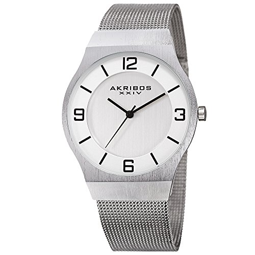 Akribos XXIV Omni Mens Casual Watch - Brushed Center Dial - Japanese Quartz - Stainless Steel Mesh Strap - Silver