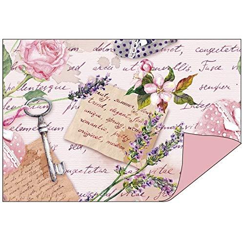 Papel decorativo en diseño doble, 1 lado con decoración, 1 lado de un solo color, 10 x 15 cm, papel plegable, papel para manualidades, papel decorativo de 110 g/m², 50 unidades Vintage/rosa