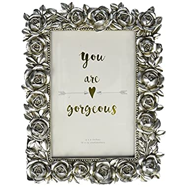 Azzure Home Rose Resin Decorative Picture Frame for Table Top or Wedding Table Décor, Rustic Silver