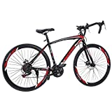 Lroplie R2 Commuter Aluminum Road Bike 21 Speed 700C Wheel Suspension Fork Rear Suspension Bicycles for Intermediate to Advanced Riders (Road Black&Red 21 Speed)