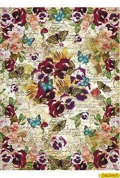 Papel de Arroz Cadence Mariposas y Pensamientos 30x41cm. Ref. 197