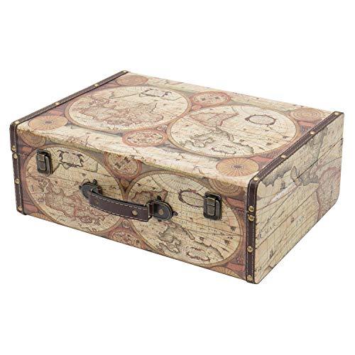 HMF VKO104 Vintage Koffer aus Holz | 44 x 32 x 16 cm | Groß | Deko Weltkarte Farbe